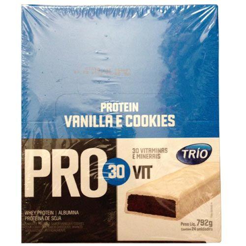 Barra de Proteína Trio Pro 30Vit - Sabor Baunilha e Cookeis c / 24 barras de 33g - Trio Alimentos