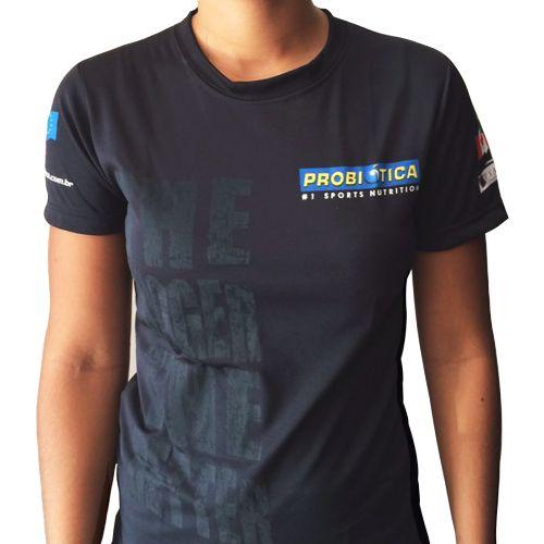 Camiseta Baby Look Dry Fit The Bigger The Better - Preta Tamanho M - Probiótica