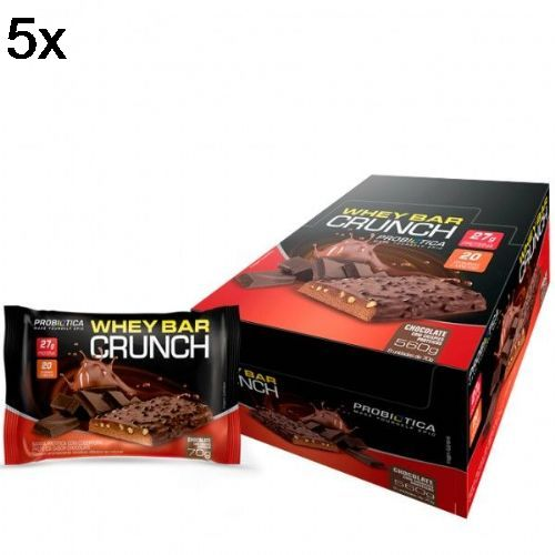 14a949a34 Kit 5X Whey Bar Crunch - 8 Unidades 70g Chocolate com Crispies - Probiotica