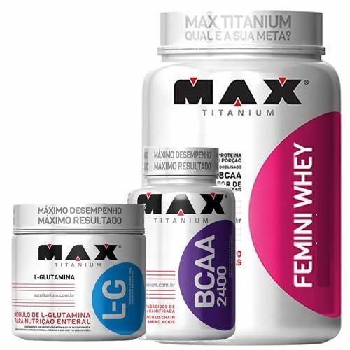 48079e612 Kit Femini Whey 900g Morango + BCAA 200 Cápsulas + Glutamina 150g - Max  Titanium