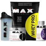 Kit Whey Pro 1500g Chocolate + BCAA 100 Cáps + Creatina 150g + Coqueteleira 750ml - Max Titanium