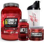 Kit 100% Whey Muscle Morango 900g + Creatina 150g + Bcaa 100 Cáps + Coqueteleira 600ml - Body Action