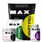 Combo Whey Pro Choc + Bcaa 100 + Creatina 300 + Dextrose - Max Titanium