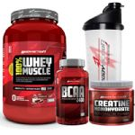 Kit 100% Whey Muscle Chocolate 900g + Creatina 150g + Bcaa 100 Cáps + Coqueteleira 600ml - Body Action