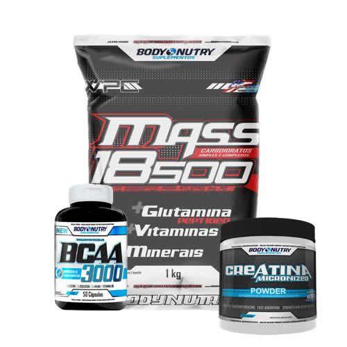 Kit Mass 18500 - 1kg Morango + Creatina 100g + Bcaa 50 caps - Body Nutry