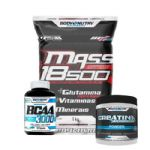 Kit Mass 18500 - 1kg Morango + Creatina 100g + Bcaa 50 caps - Body Nutry